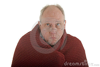 Old Man Cold in Blanket