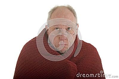 Old Man Cold in Blanket