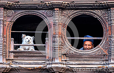 Old Man & Dog, Bhaktapur, Nepal Editorial Stock Image