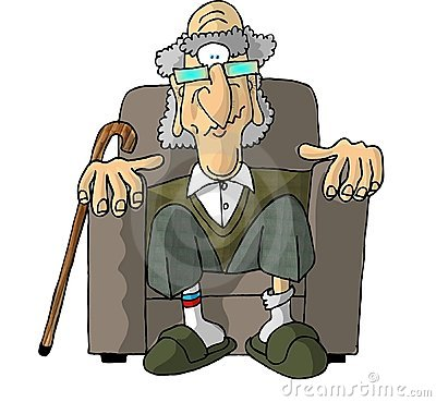 Old man in an easy chair Cartoon Illustration