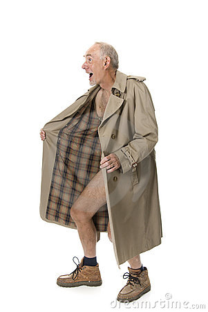 Old man flashing with raincoat