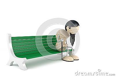 Old man on garden bench