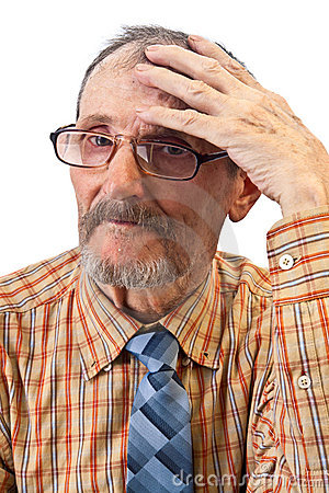 The Old Man Hold On His Head Stock Image - Image: 22813431