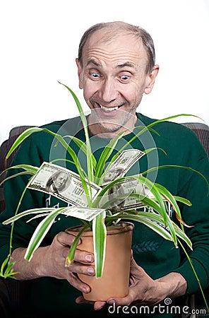 Old man holding money plant