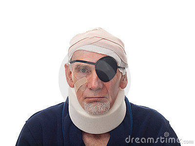 Old man with injured head and neck