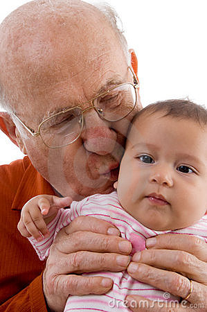 Cute Baby Picture Poses on Old Man Kissing The Cute Baby Royalty Free Stock Image   Image