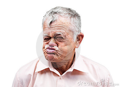 Old man making funny face on white background
