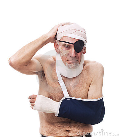 Old man with multiple injuries