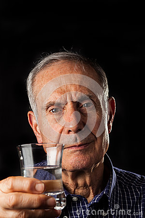 Old Man with glass of water