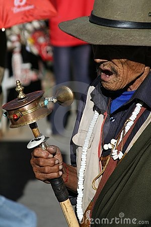 An old man on a pilgrimage to Lhasa Tibet Editorial Stock Image