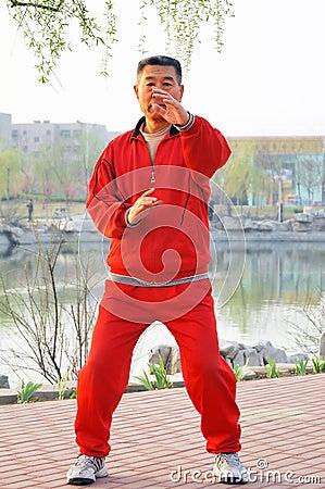 Old man play Taiji boxing