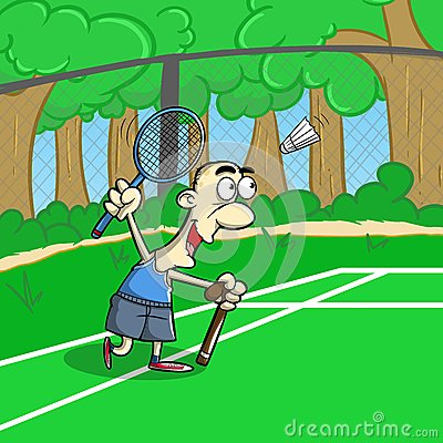 Senior keep playing  badminton