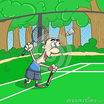 Senior keep playing  badminton