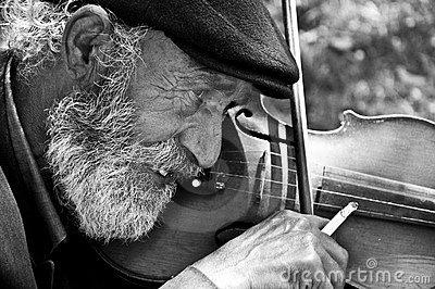 Old man playing violin