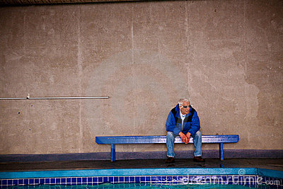 Old man at pool
