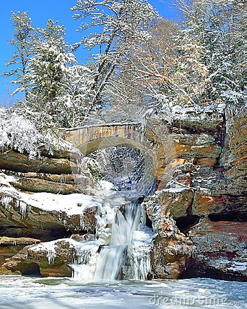 Free Old Man S Cave Upper Falls In Winter Stock Image - 51254951