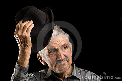 Old man saluting