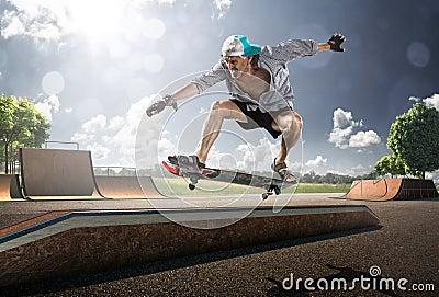 Old  Man skating in sunny day