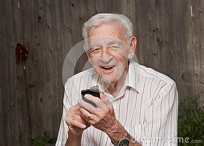 Old man with smart phone