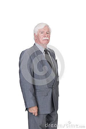 Old man in suit and gray hair