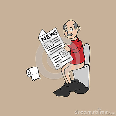 Old Man In Toilet And Newspaper Stock Vector Image 45710157
