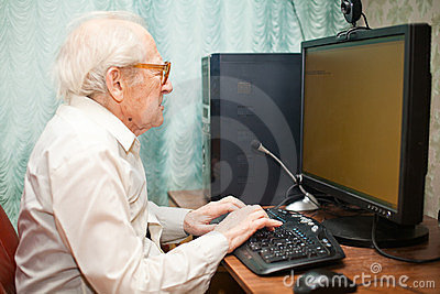 Old Man Typing