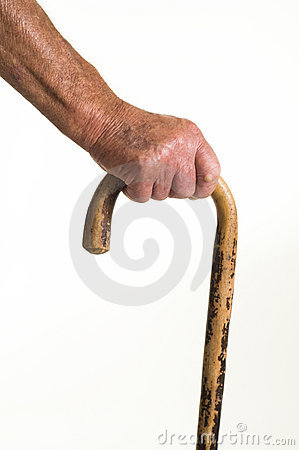 Old man and walking stick