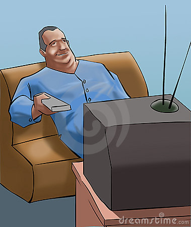 A old man watching tv