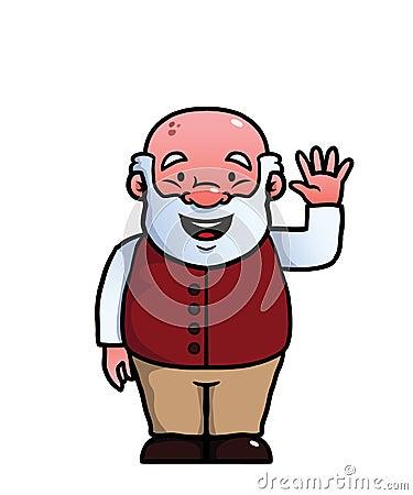 Old man waving at camera