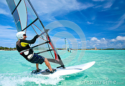 Old man windsurfing on Bonaire.