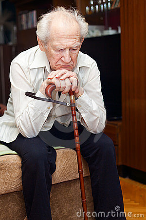 Free Old Man With Cane Stock Photos - 24058473