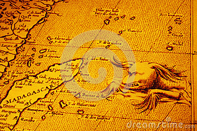 Old Map of Africa Madagascar With Sea Monster