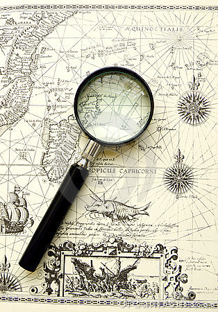 Old map - Ancient sea chart, magnifier