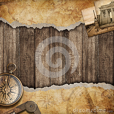 Old map background with compass. Adventure or discovery concept.