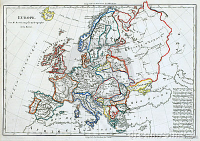 Old map of Europe,