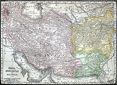 Old map of Iran, Afganistan and Pakistan