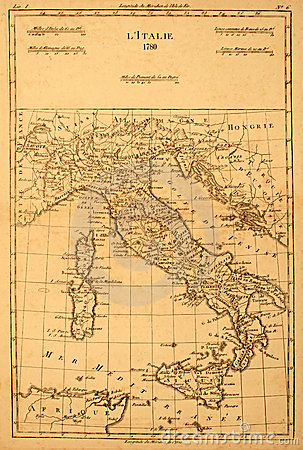 Old map of Italy.