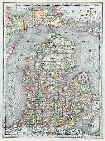 Old Map of Lower Michigan
