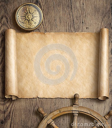 Free Old Map Scroll With Compass And Steering Wheel On Wood Table. Adventure And Travel Concept. 3d Illustration. Stock Photos - 100198373