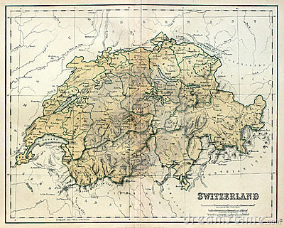 Old map of Switzerland.