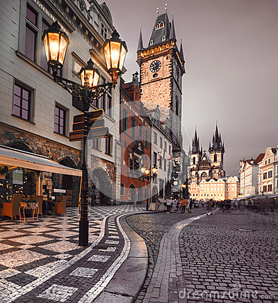 Free Old Market Square In Prague In The Evening Royalty Free Stock Photos - 37377938