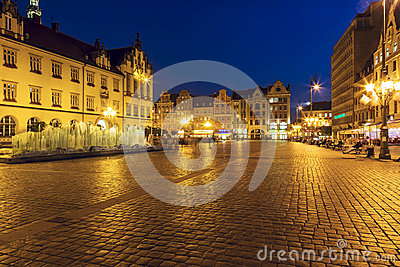 Old Market Square with Modern fountain, Wroclaw Editorial Photography