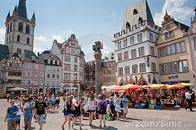 Old Market square in Trier, Germany Editorial Stock Photo