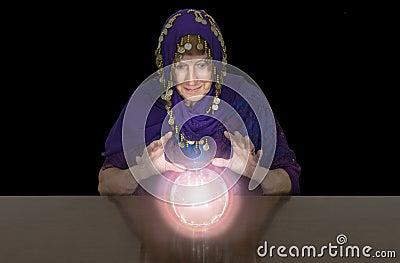 Mature Senior Woman Gypsy, Fortune Teller, Crystal Balll