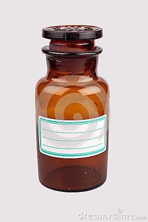 Old medicine bottle with blank label