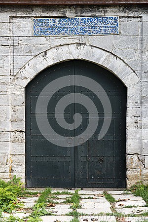 Old Medieval Castle Stone Gate with Iron Door