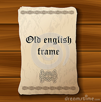 Old medieval parchment paper on wood background