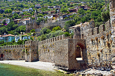 Old Mediterranean Town Behind Fortress Wall Near t