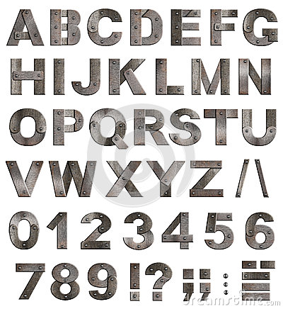 Free Old Metal Alphabet Letters, Digits, Punctuation Stock Image - 29030371