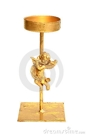 old metal candlestick with angel isolated on white
